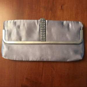 Silver Satin Evening Bag with Rhinestones